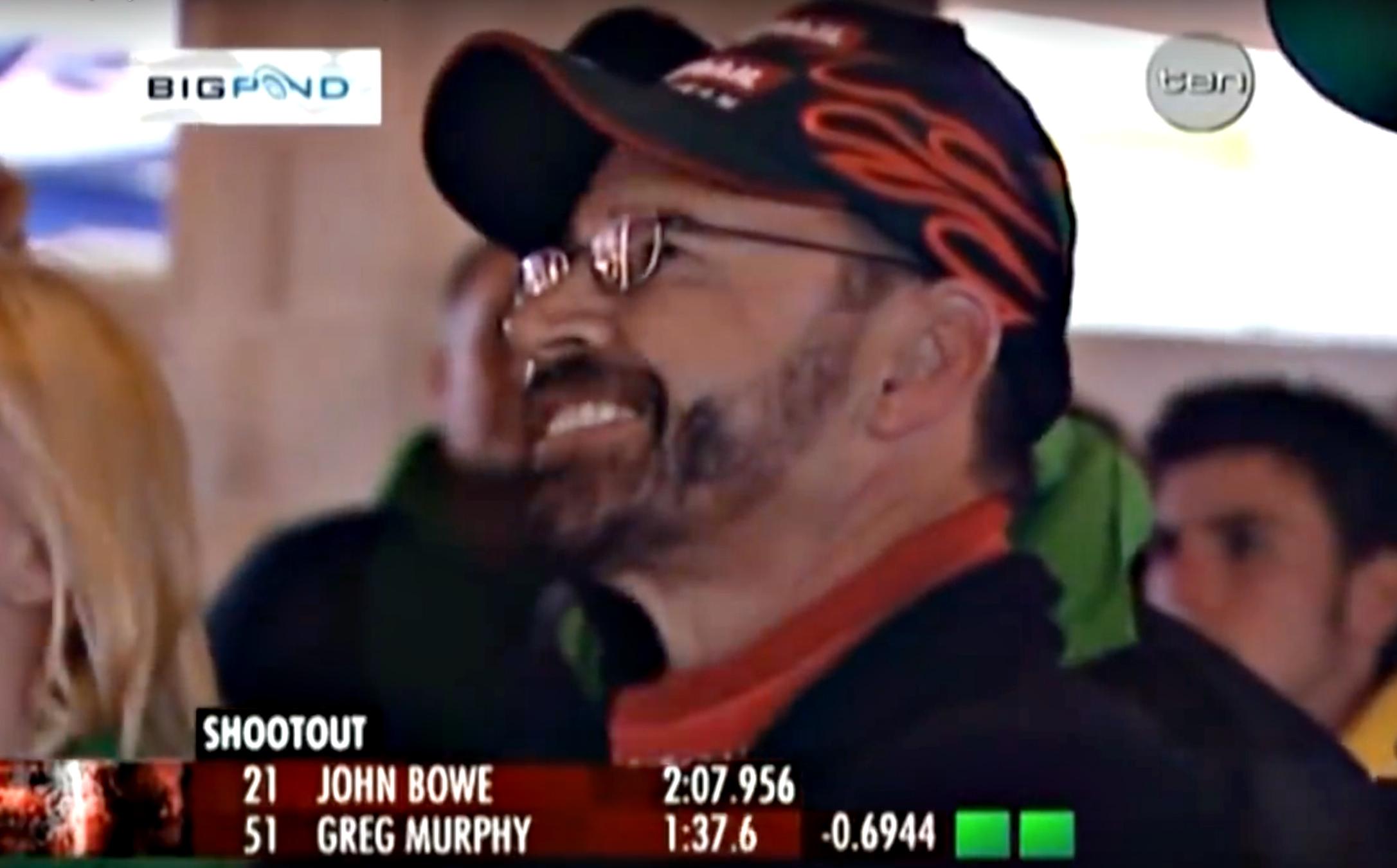 John Bowe watching the lap of the gods